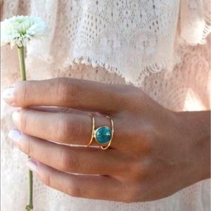 Vintage Gold Double Layer Turquoise Stone Ring